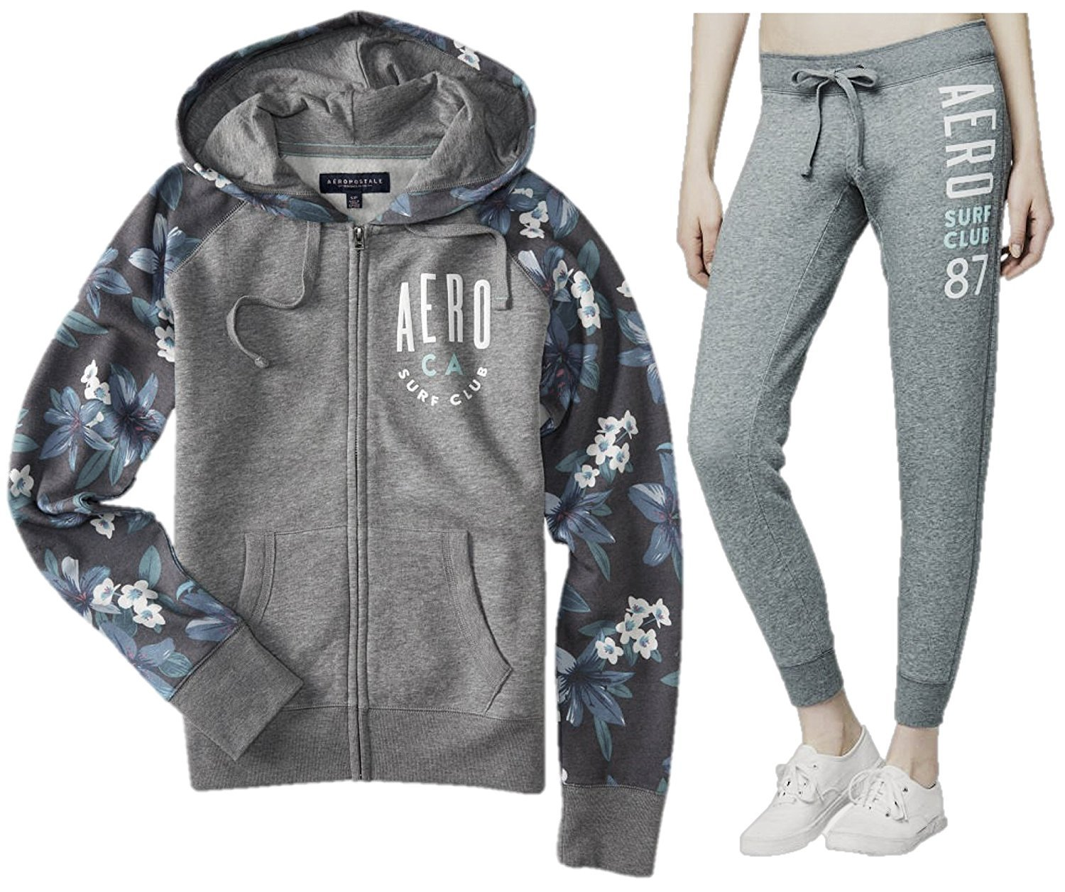 Aeropostale Women's Flowery Raglan Graphic Two-Pieces Set Of Full Zip up Hoodie and Jogger Pants (Small, Grey)