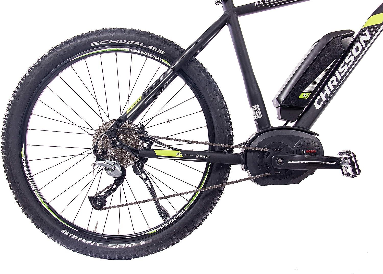 Chrisson, bicicleta eléctrica de 27,5 pulgadas, 1.0 con rendimiento Bosch, Line Motor, batería Power Pack 300 y cambio de marchas Shimano Acera 3000, negro, 48 cm: Amazon.es: Deportes y aire libre