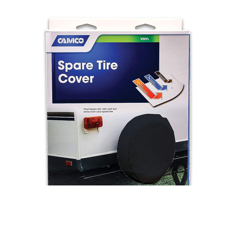24 inches  , off-white Camco 45358 Vinyl RV Spare Tire Cover