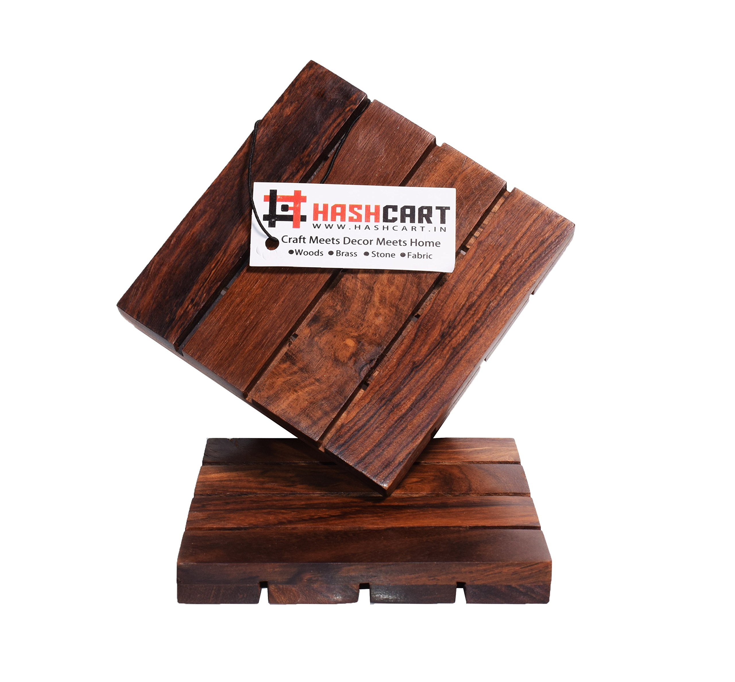 Hashcart Coasters for Drinks-Hot & Cold/Wooden Coaster Sets/Dining, Tea & Coffee Table Decorative Cocktail Coasters in Sheesham Wood | 4x4 inch | Set of 2 by Hashcart (Image #2)
