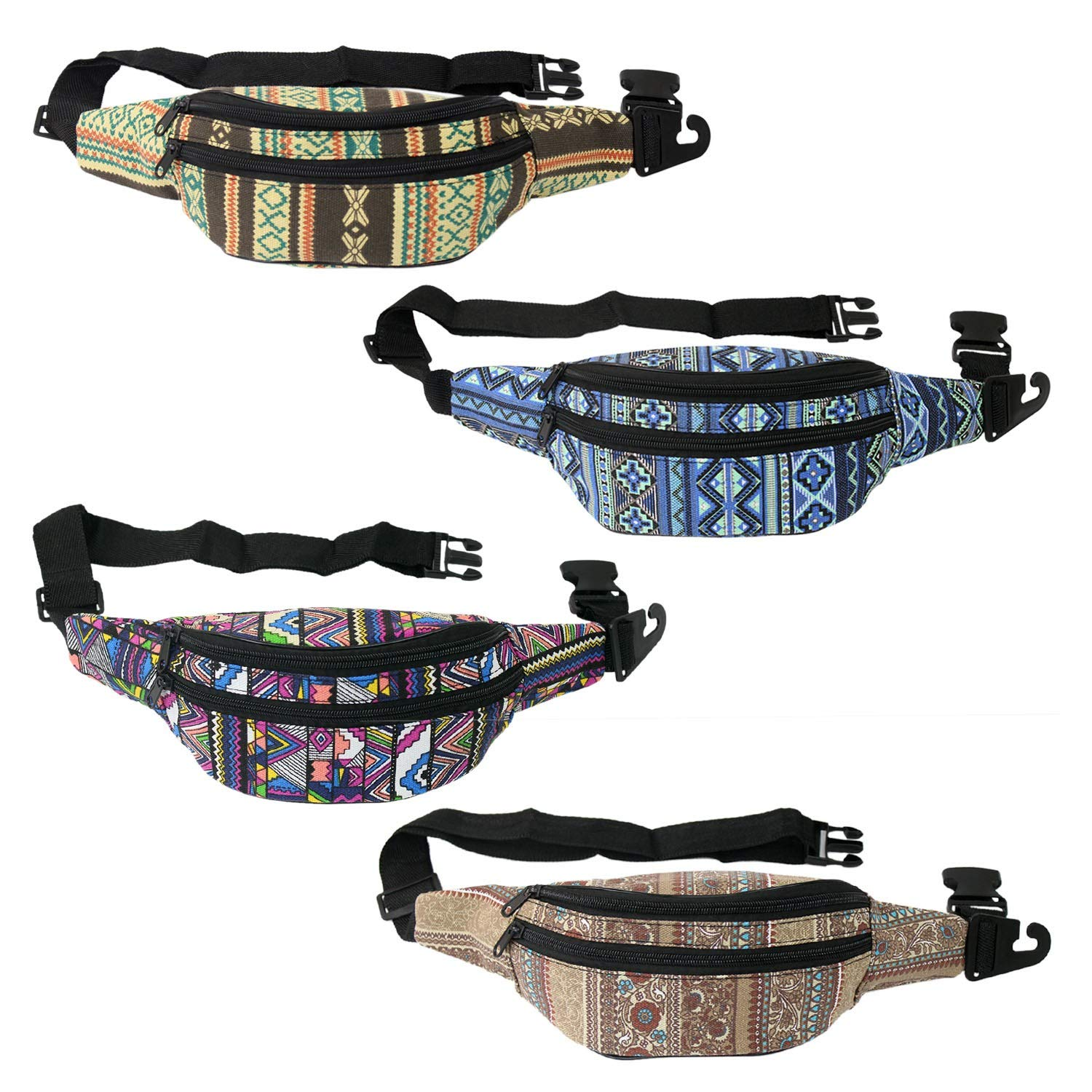 Wholesale Men's, Women, Cute Travel Fanny Pack in 4 Assorted Canvas Prints - for festivals and raves - Bulk Case of 24