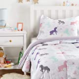 Amazon Basics Easy-Wash Microfiber Kid's Comforter and Pillow Sham Set - Twin, Purple Unicorns