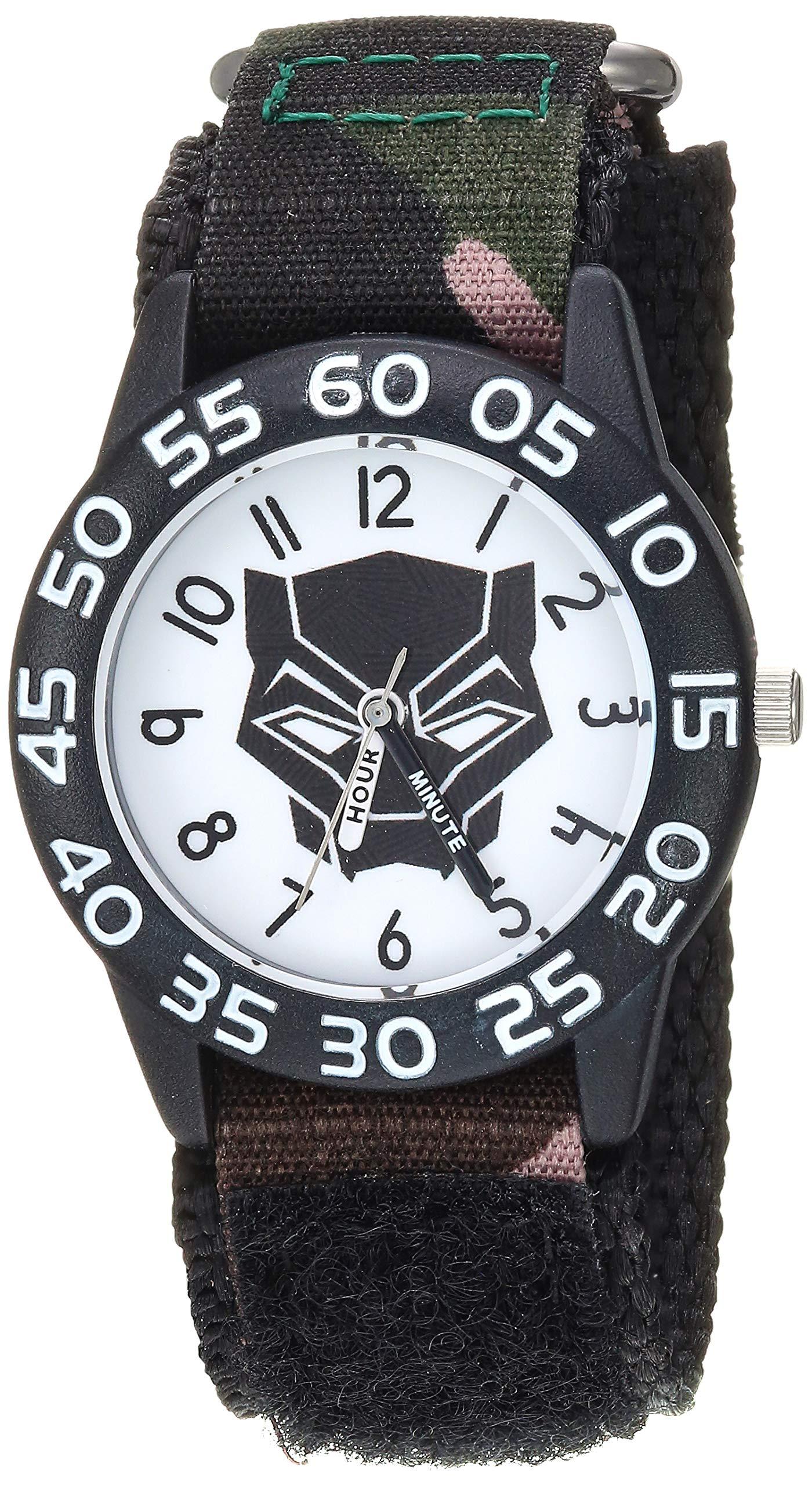 Marvel Boys Black Panther Analog-Quartz Watch with Nylon Strap, 20.3 (Model: WMA000281)