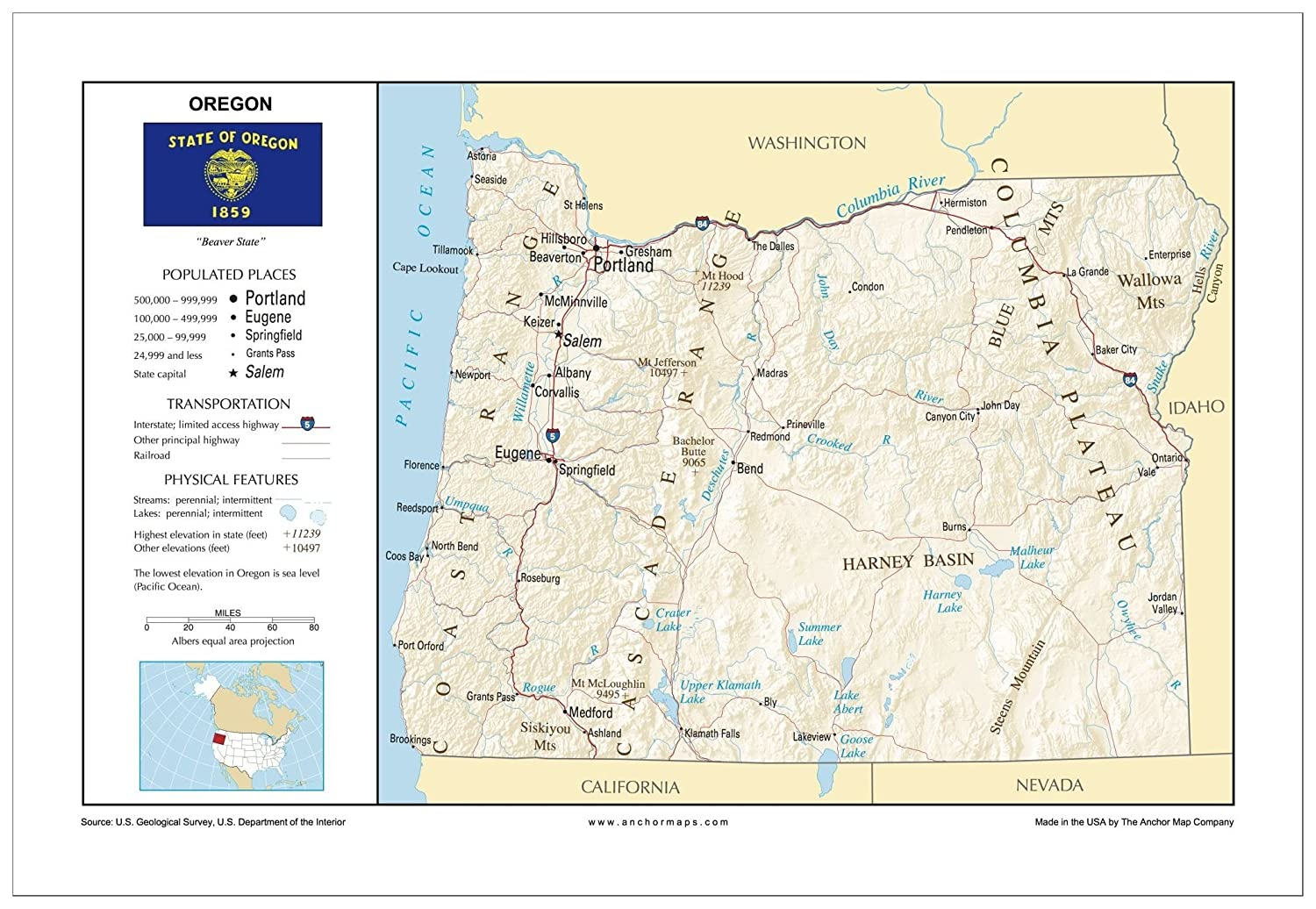Amazon Com 13x19 Oregon General Reference Wall Map Anchor Maps