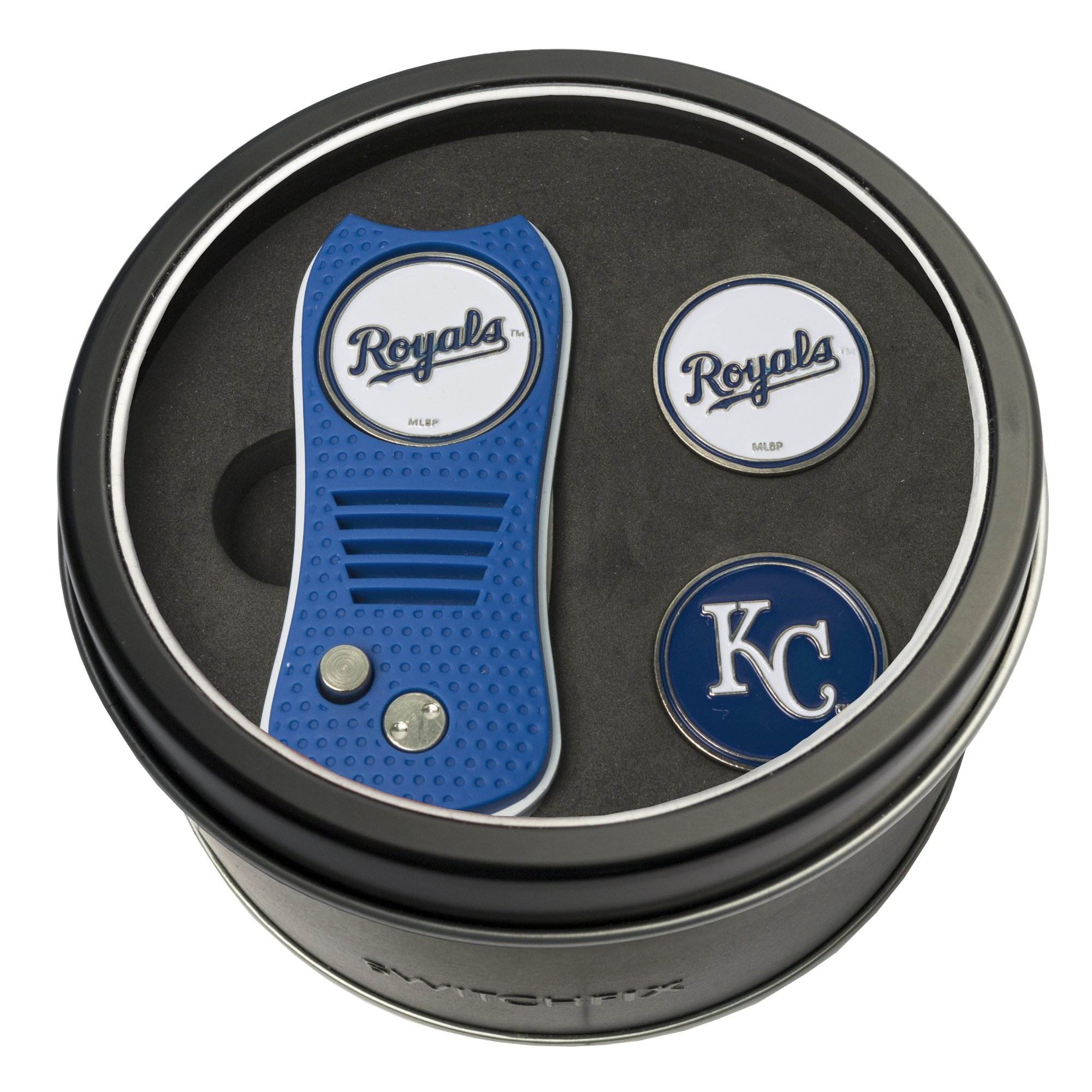 Team Golf MLB Kansas City Royals Gift Set Switchblade Divot Tool with 3 Double-Sided Magnetic Ball Markers, Patented Single Prong Design, Causes Less Damage to Greens, Switchblade Mechanism by Team Golf