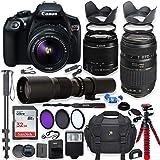 Canon EOS Rebel T6 DSLR Camera with 18-55mm is II Lens Bundle + Tamron 70-300mm f/4-5.6 Di LD Macro AF Lens & 500mm Preset Lens + 32GB Memory + Filters + Monopod + Spider Tripod + Professional Bundle