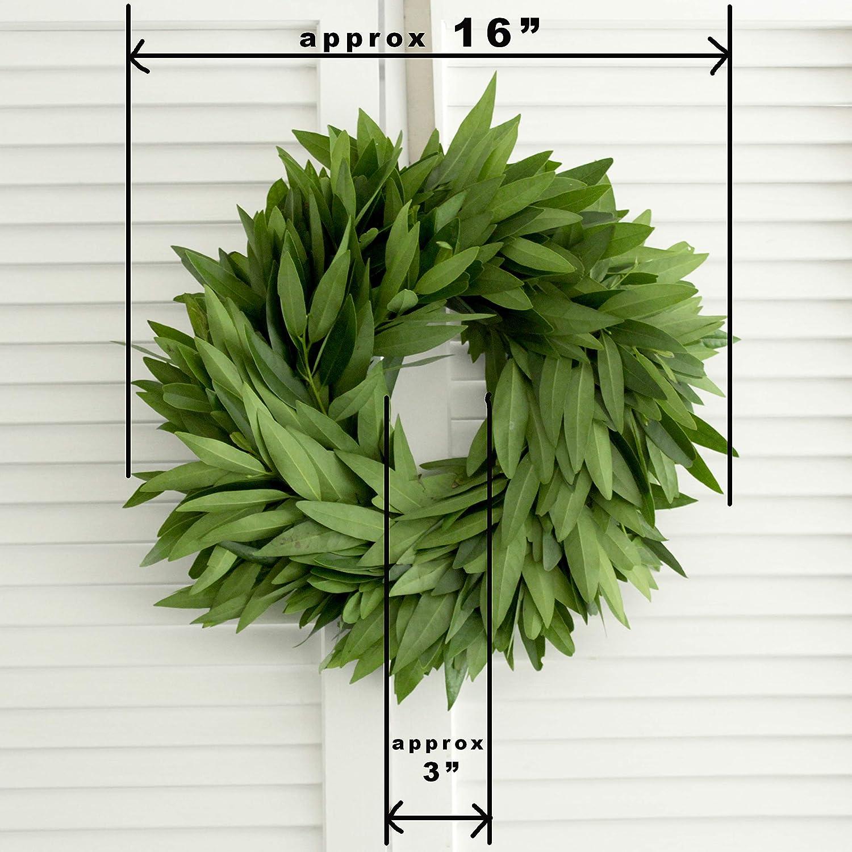 Amazon Com Fresh Bay Leaf Wreath 16 Inches Front Door Decor Church Door Decor For Wedding Bridal Shower Baby Shower Handmade