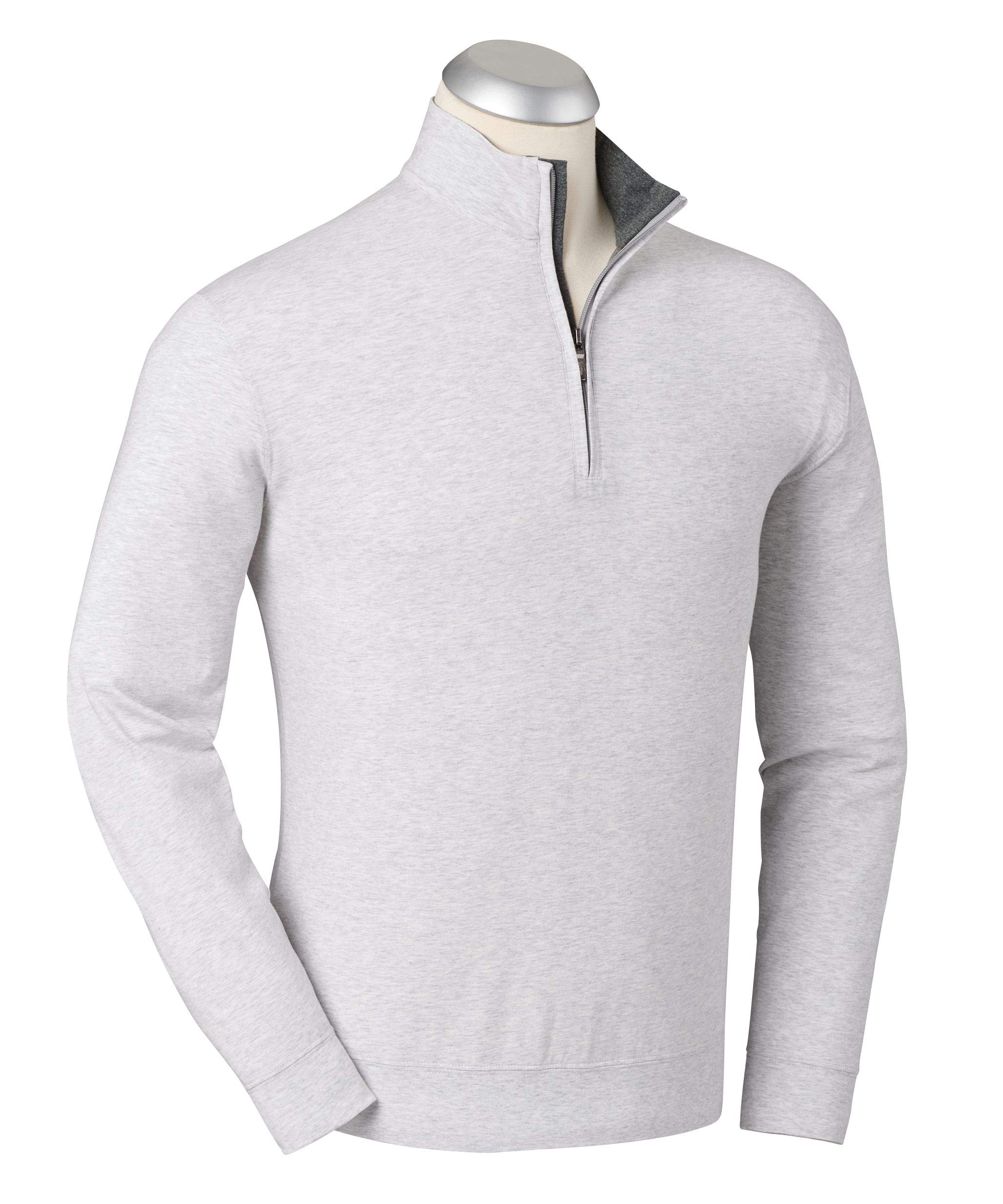 Bobby Jones Liquid Cotton Stretch Golf Pullover - Men's 1/4 Zip Pullover Golf Apparel Heather Grey