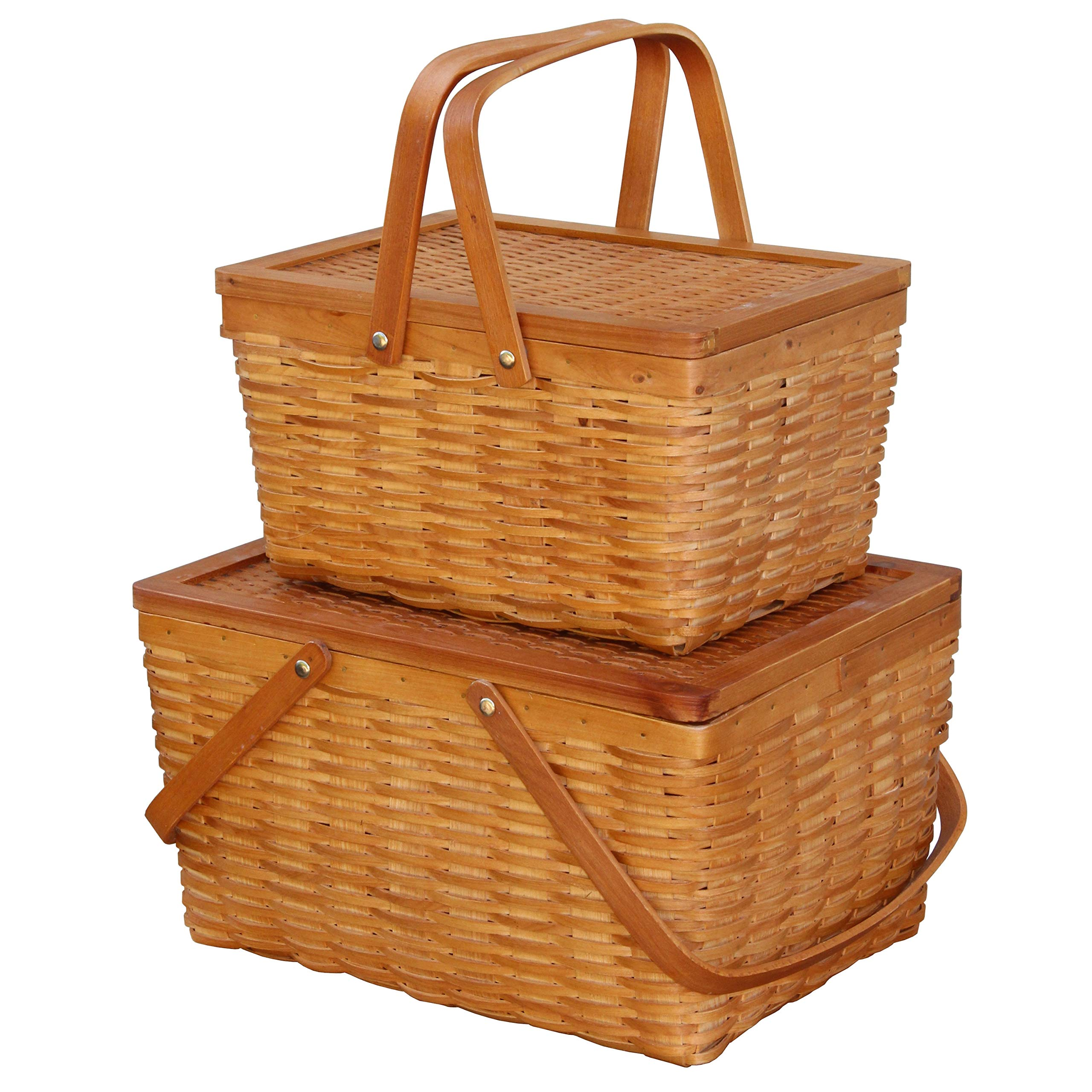 Storage Basket - Rectangle Handwoven Chipwood Basket - Set of 2 by Basket Bins