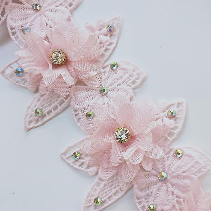 price for 1 yard and 20 inch Pink small flower lace trim  with amazing design