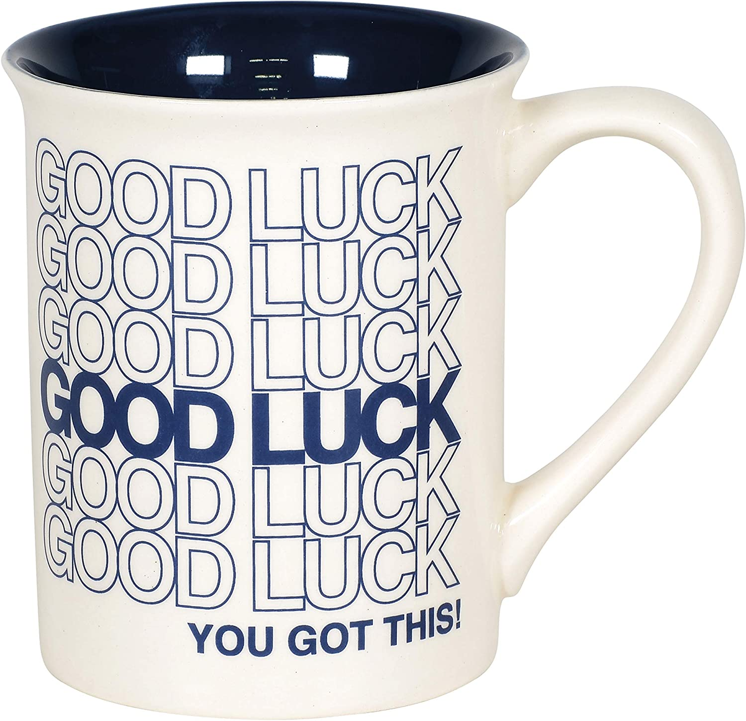 Enesco 6006214 Our Name is Mud Good Luck Repeating Type Coffee Mug, 16 Ounce, Dark Blue and White