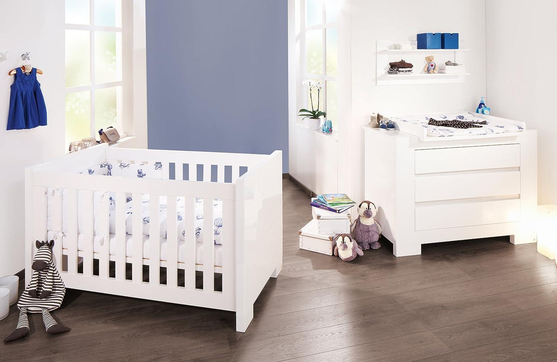 Chambre bébé Sky blanc: Lit évolutif et commode à langer Pinolino ...