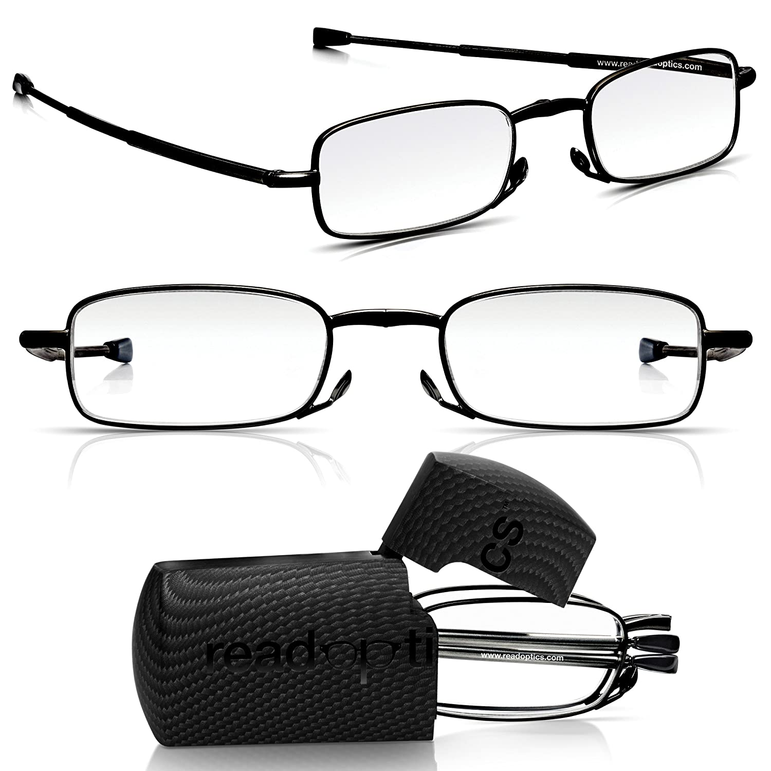 Mens//Womens Foldable Patented Compact Spectacles Fold-Away in Ultra Thin Travel Case Read Optics Flat Folding Readers Glasses 2.5// 3// Lifetime Guarantee 1// 2// 3.5 Premium Difuzer/™ Lenses 1.5//