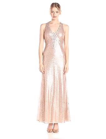Amazon.com  Ignite Women s V-Neck Sequence Open Lace Back Dress ... 3a985090e