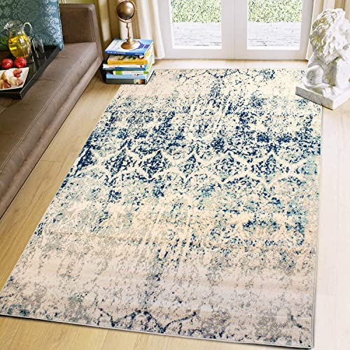 Super Area Rugs 3 3 X 5 Modern Faded Area Rug Abstract Foyer Carpet, Ivory, Gray Blue