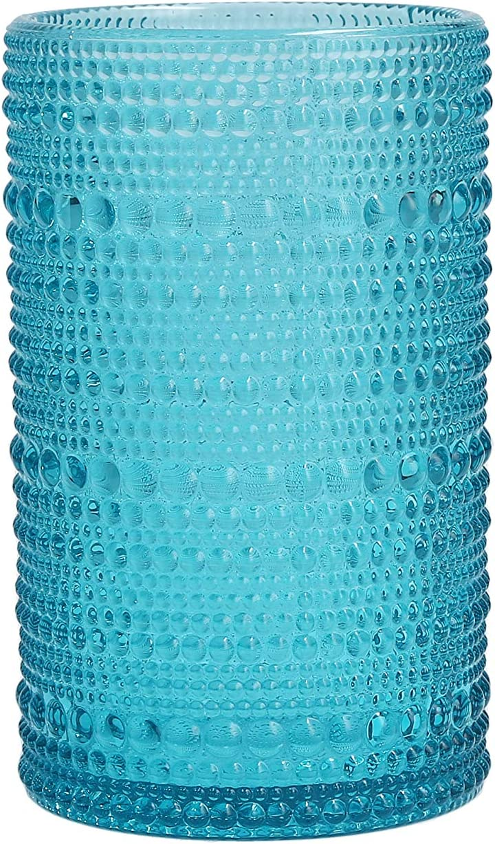 Fortessa Jupiter Collection Iced Beverage Cocktail Glass, Set of 6, 13 Ounce, Lagoon Blue