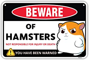 Venicor Beware of Hamsters Warning Aluminum Sign - 8 x 12 Inches - Great Gag Gift for Hamster Fan Lovers - Detailed Cartoon Art Decor - Funny Cute Danger Metal Wall Decoration