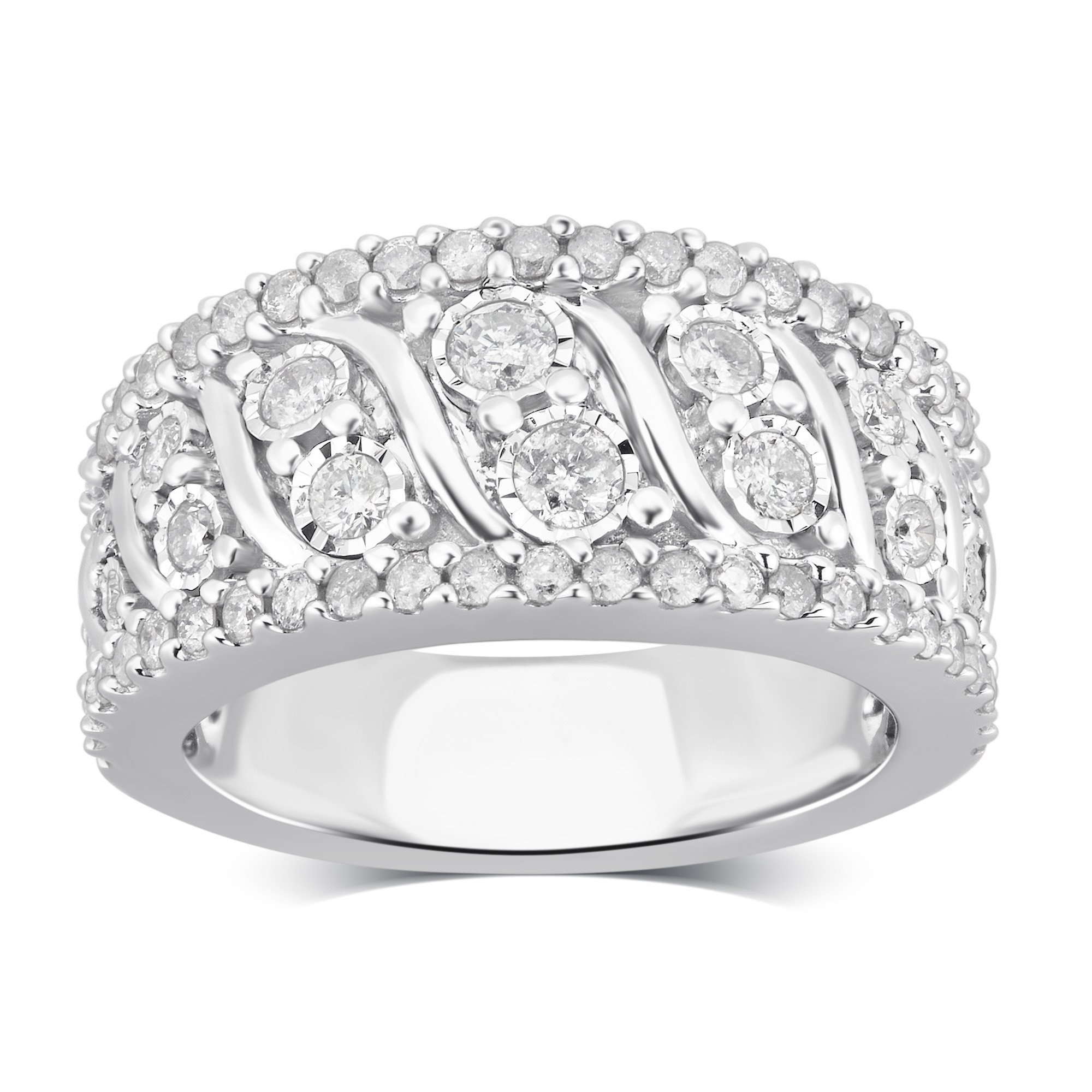 Sterling Silver Diamond Miracle Plate Anniversary Ring (1.00 cttw, J-K Color, I3 Clarity)