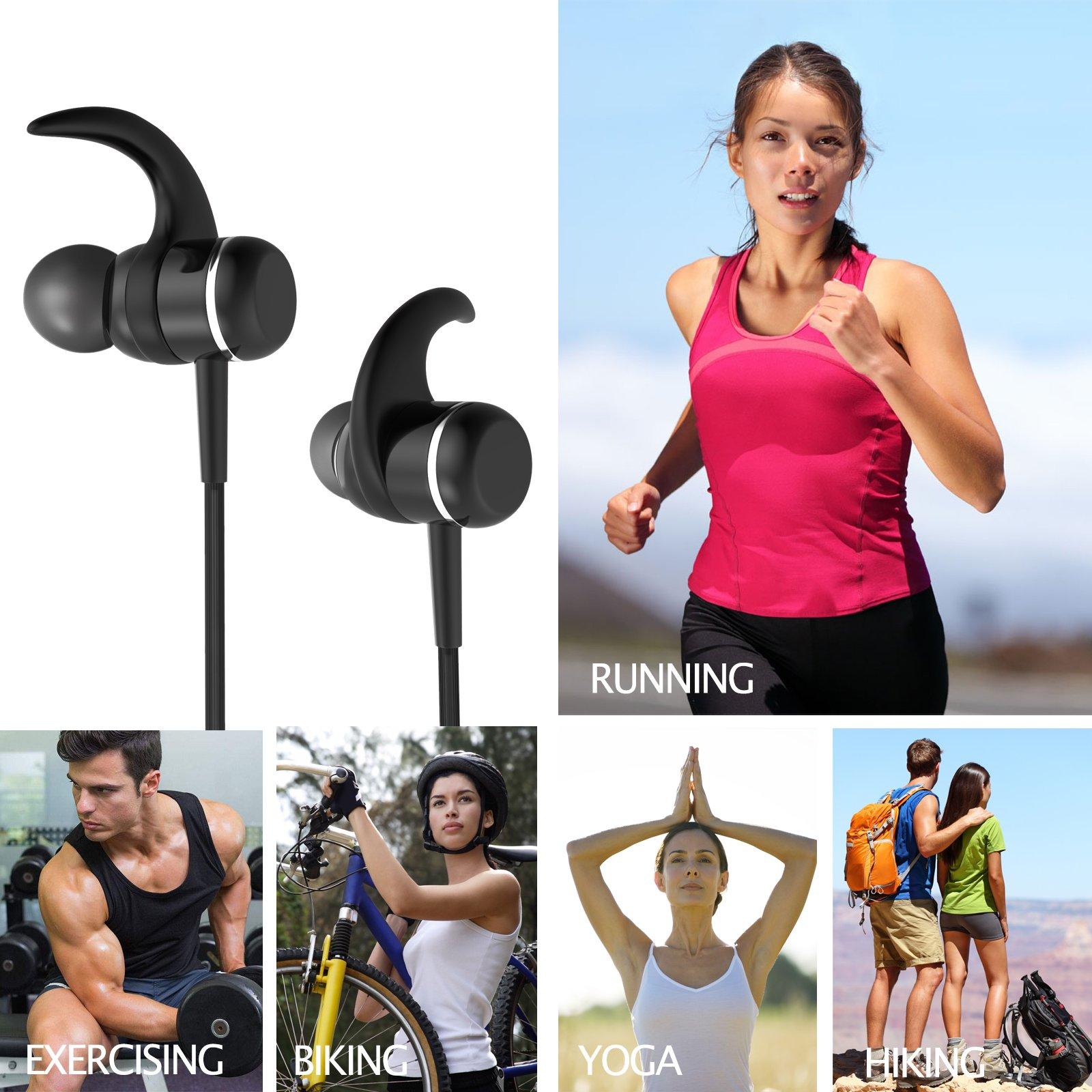 Bluetooth 4.1 Headphones, Sports Earphones w/Mic, Waterproof HD Stereo Earbuds for Gym Running by LIREION (Image #6)