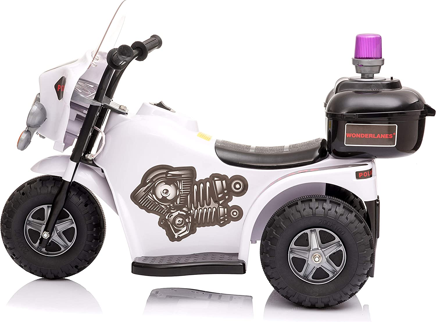 for Ages 1-3 White Storage Compartment Wonderlanes Beyond Infinity 6V Battery Powered Wheels Childrens Ride On Mini Police Motorcycle