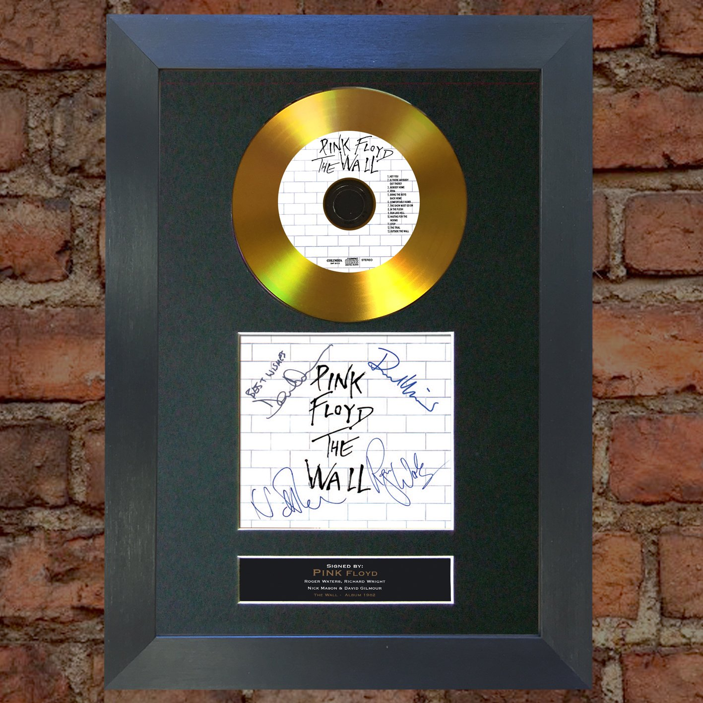 #115 GOLD DISC PINK FLOYD The Wall Album Signed Autograph Mounted Reproduction A4 Print (Black Frame) The Autograph Collector