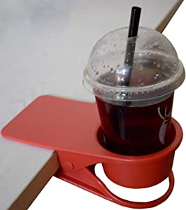 Home Office Table Desk Side Huge Clip Tea Coffee Cup Holder Clip Teacup Drinking Cup Holder Clip Clamp,Red