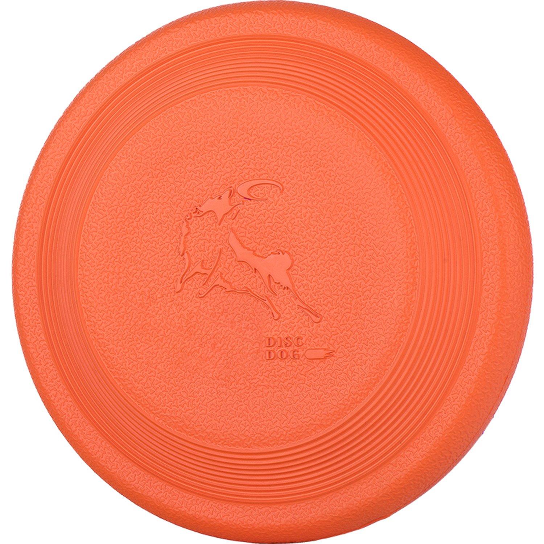 DISCDOG Bite-Resistant Jawz Dog Flying Disc Toy Tough Professional Floatable Dog Disk for Golden Retriever Husky Samoyed Malinois border collie (9-1/4 inch, Orange)