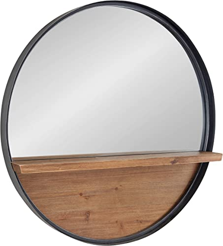 Kate and Laurel Owing Farmhouse Metal Framed Round Mirror