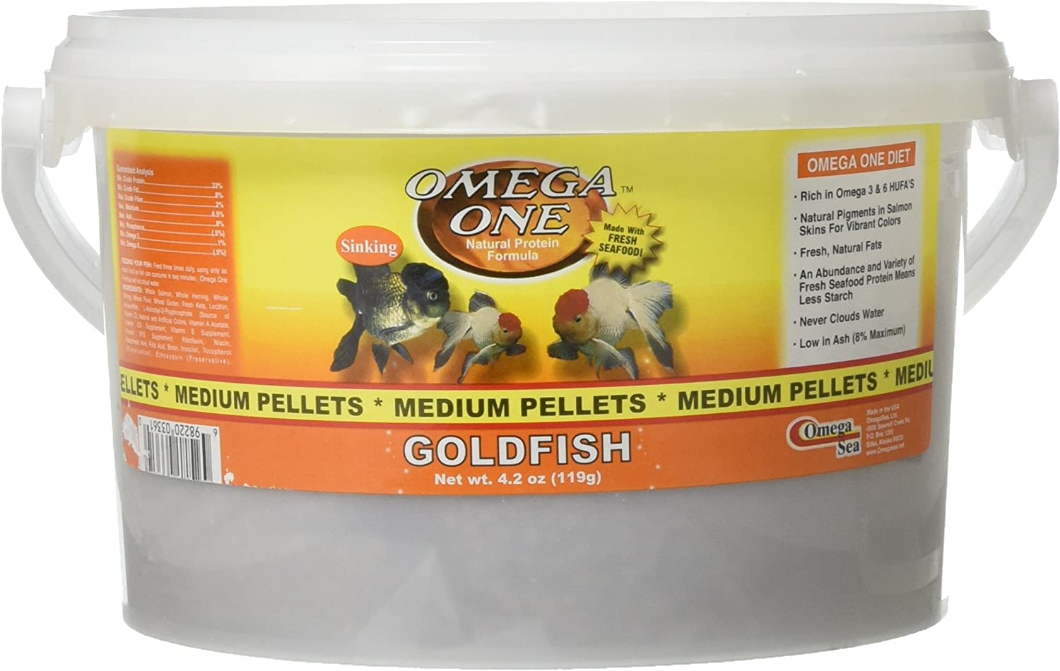 Omega One Goldfish Pellets, Sinking, 4mm Medium Pellets