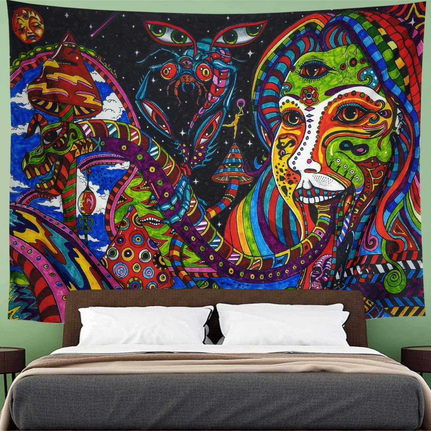 Tapestry Retro Pattern Wall Hanging Psychedelic Tongue Tapestry Abstract Figure Wall Tapestry Hippie Animal Tapestry Ethnical Intricate Wall Decor for Bedroom Living Room Dorm (59