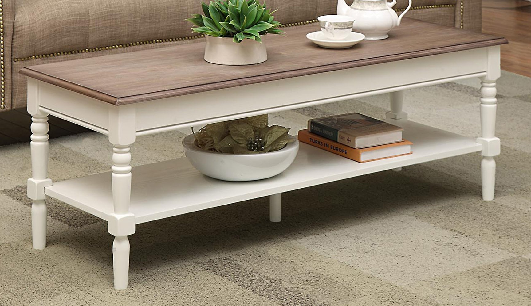Convenience Concepts French Country Coffee Table, Driftwood / White by Convenience Concepts