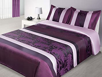 couvre lit satin violet 170 x 210 Cm violet mauve beige crème avec surpiqûres et couvre  couvre lit satin violet