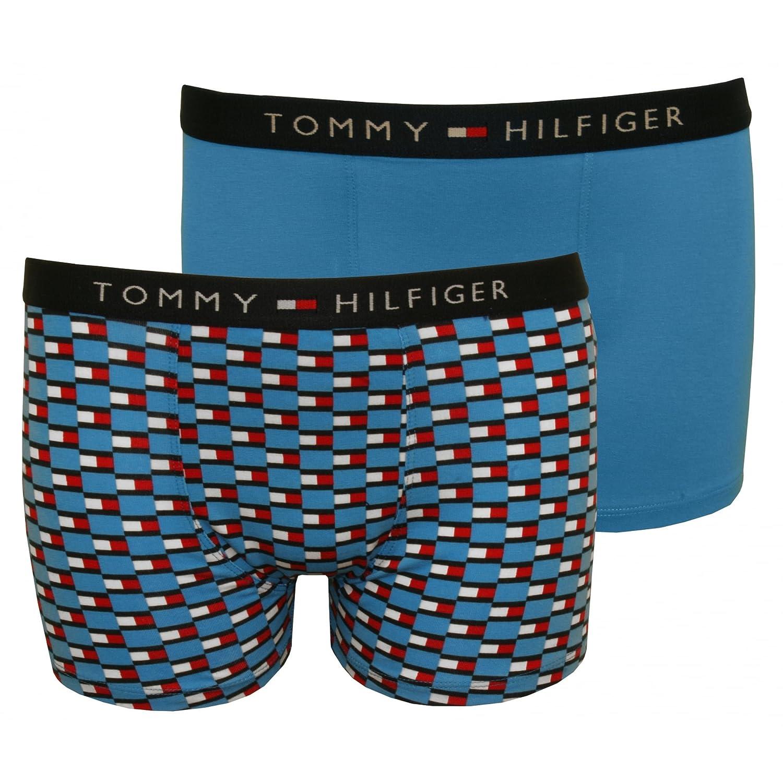Tommy Hilfiger 2-pack Icona Bandiera Logo Stampa Ragazzi Costume Boxer, Blu