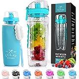 Zulay (34oz Capacity) Fruit Infuser Water Bottle With Sleeve - BPA Free Anti-Slip Grip & Flip Top Lid Infused Water Bottles f