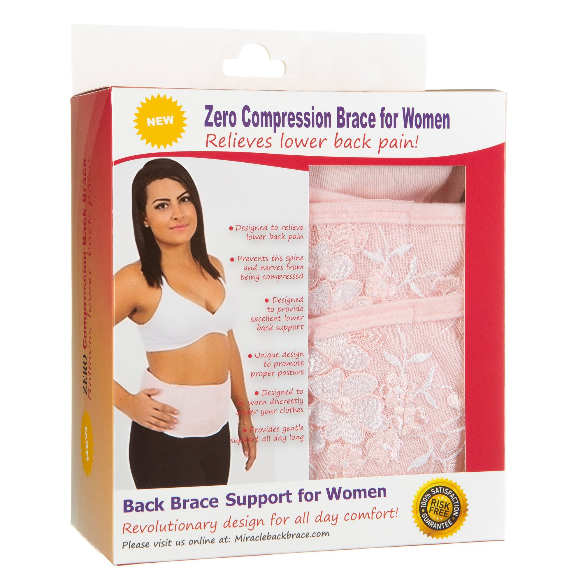 Back Support Brace for Women, Lumbar Support Belt, Posture Corrector with Zero Compression Back Brace by Zero compression Back Brace