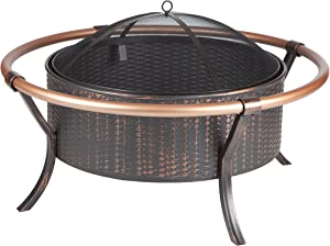 Fire Sense 28 Inch Round Steel Copper Rail Fire Pit | Antique Bronze Finish | Wood Burning | Mesh Spark Screen and Screen Lift Tool Included | Lightweight Portable Patio and Outdoor Heater