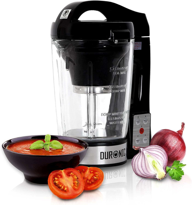 Duronic BL78 (Reacondicionado) Batidora de Vaso con Función para Sopas Máquina para Sopas y Cremas con Vaso de Cristal Termoresistente de 1,2 L Robot de Cocina Sopas, Cremas, Salsas, Batidos