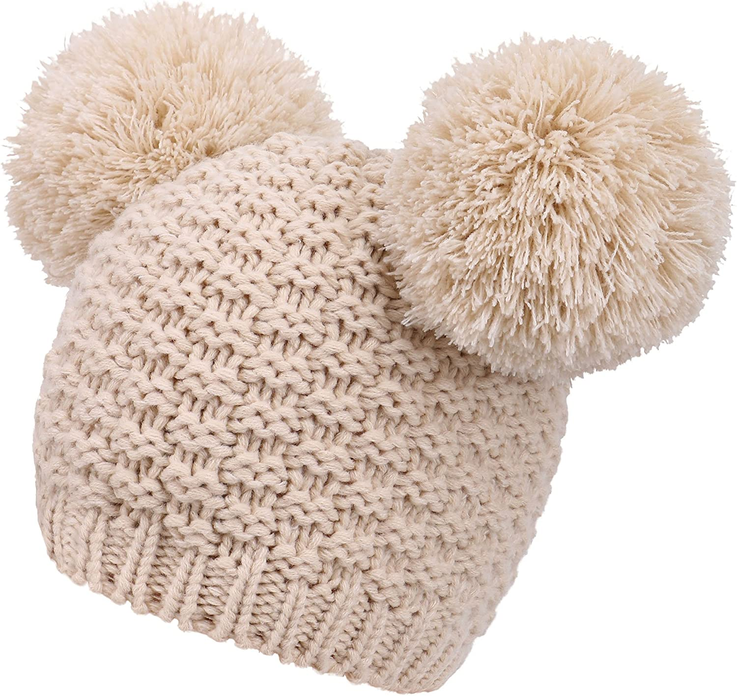 Cable Knit Beanie Chunky Winter Warm Woolly Bobble Hat Faux Fur Pom Pom Unisex