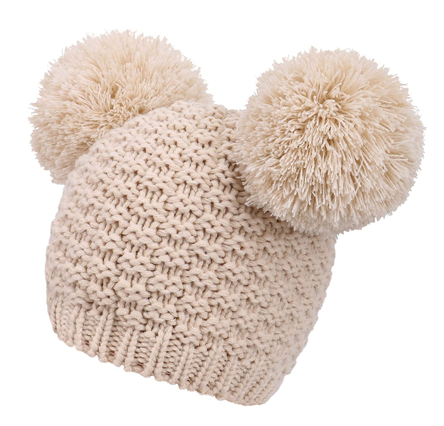 42357b9c9 Livingston Women's Winter Chunky Knit Beanie Hat w/Double Pompom Ears