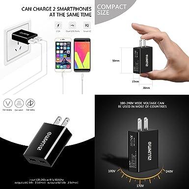 Amazon.com: T-Mobile REVVL/REVVL Plus - Charger Bundle with Mini-Compact [5V/2.1A] Dual USB Port Car Charger, Slim Lightweight [12W/2.1A] Dual USB Port Wall ...