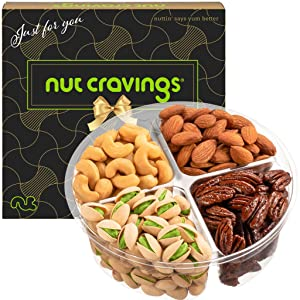 Gourmet Nut Gift Basket in Brown Box (4 Piece Assortment) - Fathers Day Prime Arrangement Platter, Birthday Care Package Variety, Healthy Food Kosher Snack Tray for Mom, Families, Women, Men, Adults