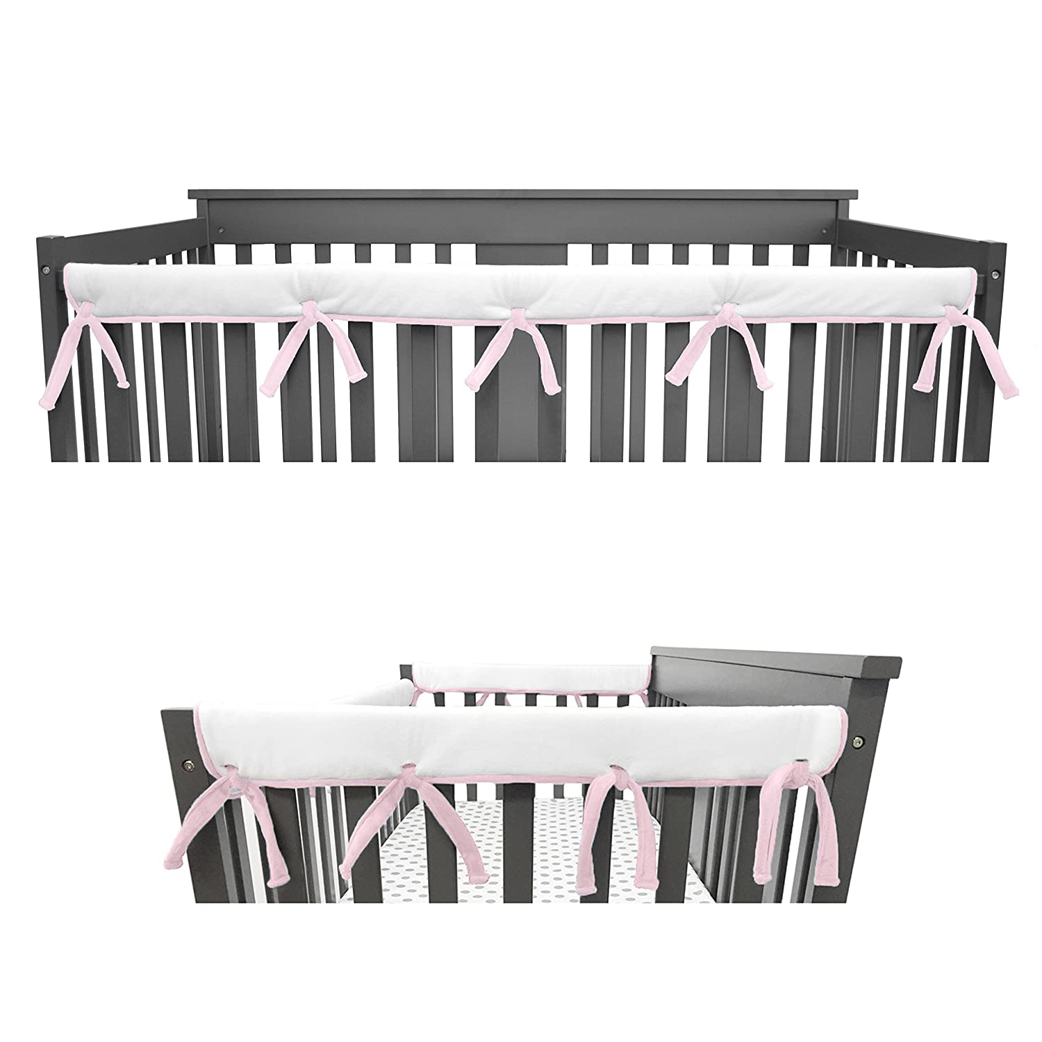 Measuring up to 4 Folded Blue//White American Baby Company Heavenly Soft Narrow Reversible Crib Cover Set for 1 Long Rail /& 2 Side Rails