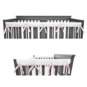 American Baby Company 3-Piece Padded Baby Crib Rail Cover Protector Set from Chewing, Safe Teething Guard Wrap for Standard Cribs, Heavenly Soft, Fits Side and Front Rails, Pink/White