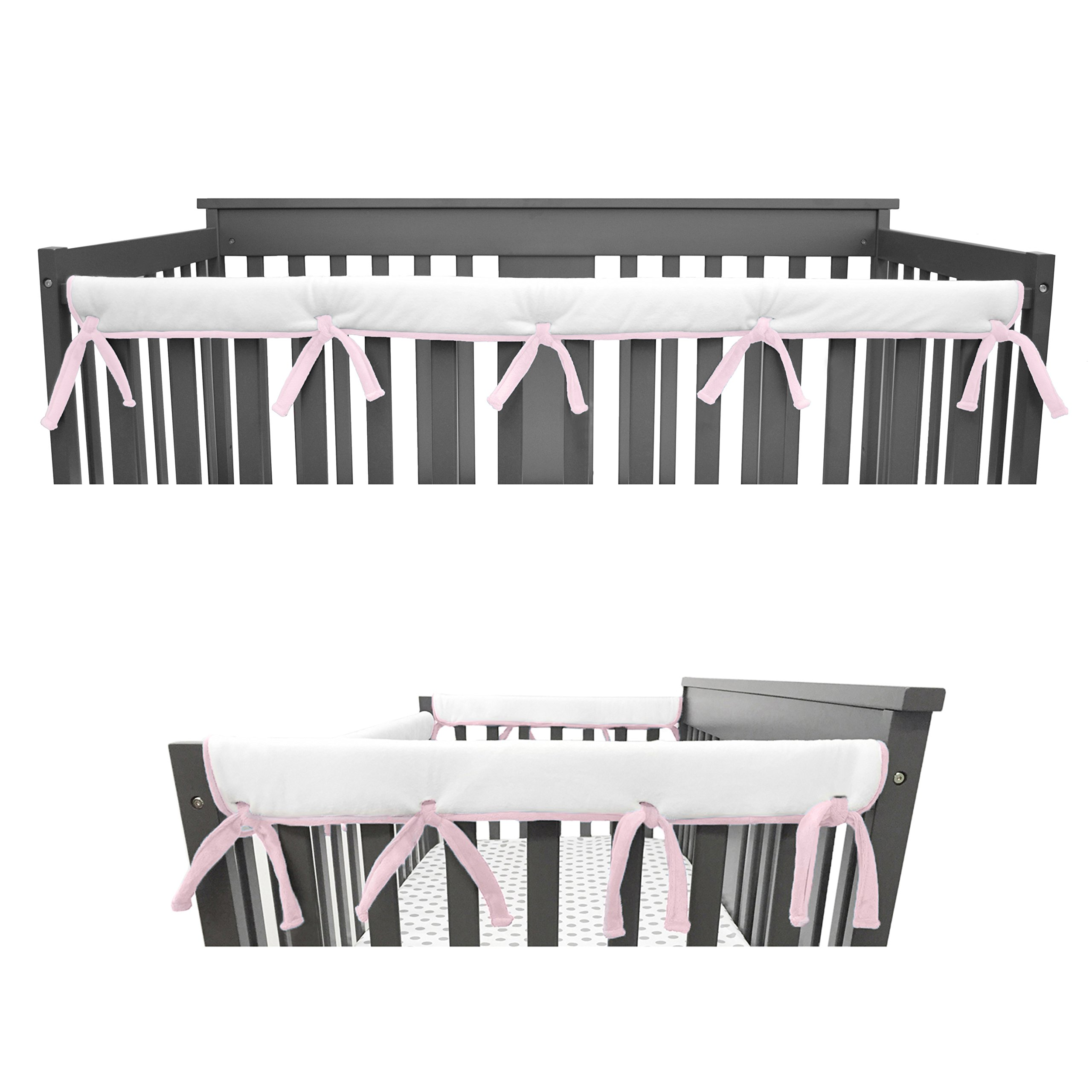 American Baby Company Heavenly Soft Narrow Reversible Crib Cover Set for 1 Long Rail & 2 Side Rails, Pink/White, Measuring up to 4'' Folded