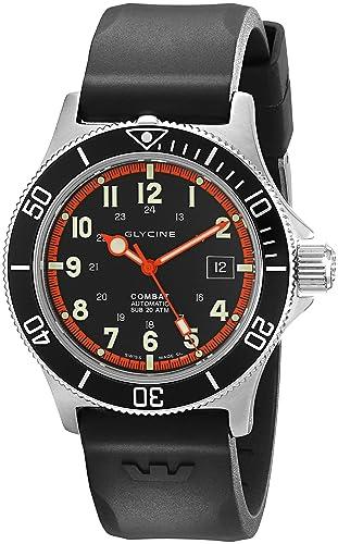 Glycine Combat SUB - Reloj automático (42 mm, bisel interno de color naranja), correa de caucho color negro: Glycine: Amazon.es: Relojes
