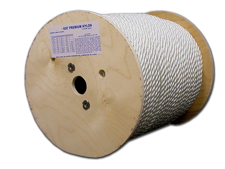 T.W Evans Cordage 122 Premium Nylon Rope Evans Cordage Co. 1//4-Inch x 600-Feet T.W