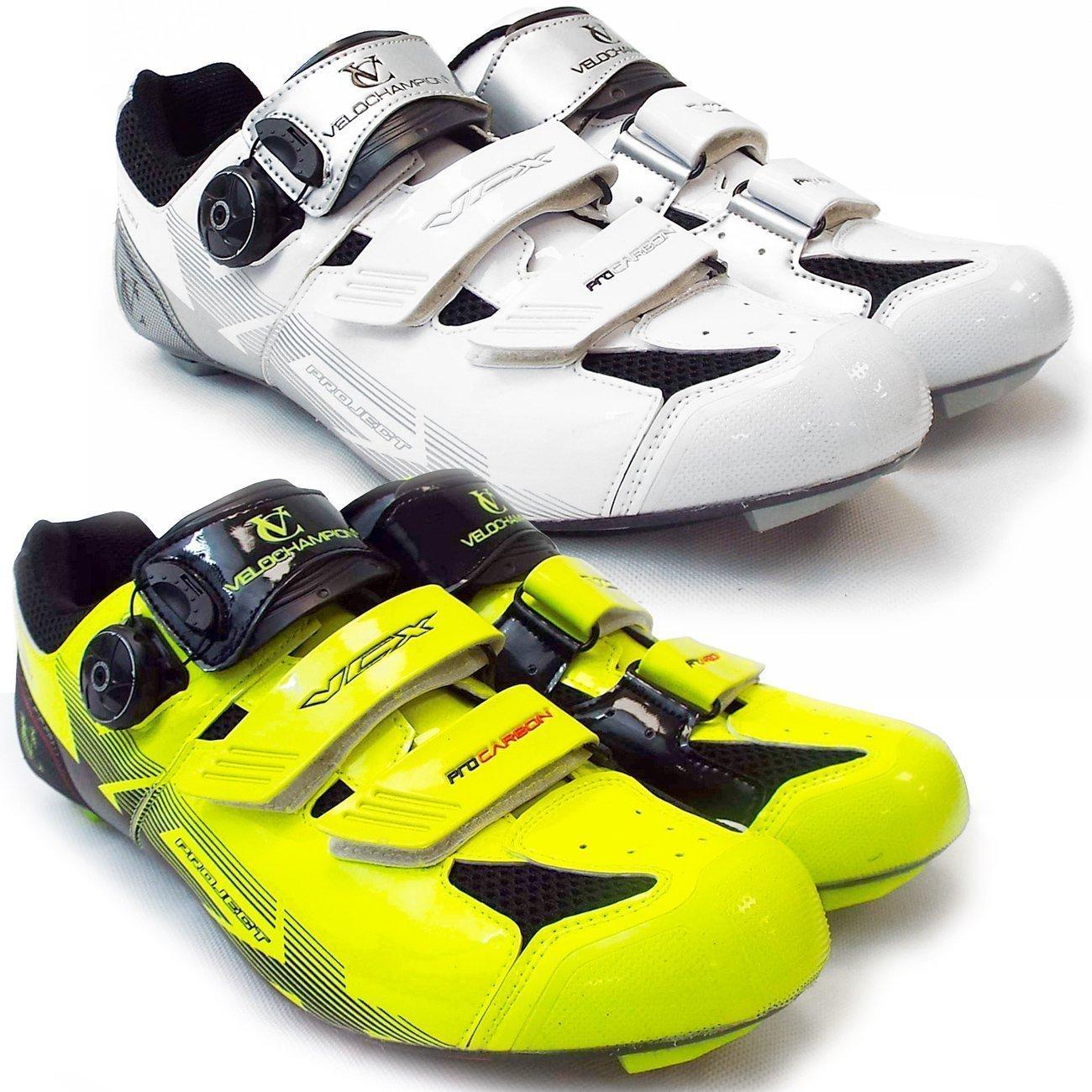 VeloChampion VCX サイクリングシューズ カーボンファイバーソール サイクリング 自転車 (ホワイトシルバーブラック, 43)   B015RK19LQ