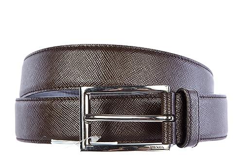 ea0d70b5d7 Prada cintura uomo vera pelle nuova originale saffiano marrone ...
