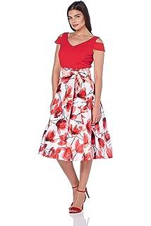 Roman Originals Women/'s Fit and Flare Floral Scuba Dress Sizes 10-20