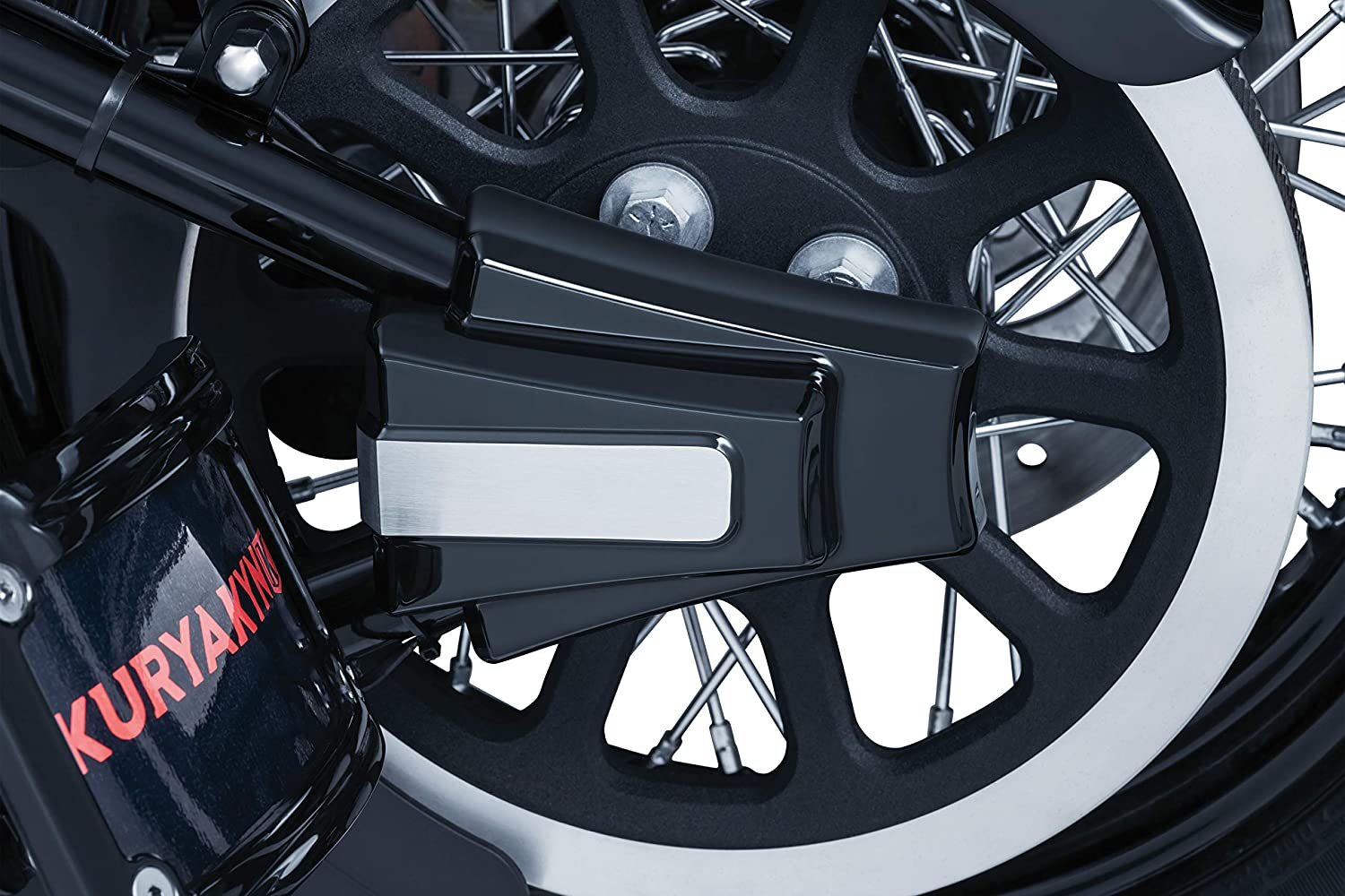 Gloss Black//Brushed Aluminum Rear Axle Covers for 2008-17 Harley-Davidson Softail Motorcycles 1 Pair Kuryakyn 7487 Motorcycle Accent Accessory